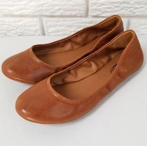 Lucky Brand Leather Emmie Ballet Flats 8.5 Brown